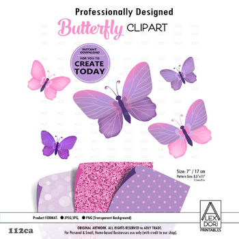 Purple Pink Butterfly Clipart, polka dot, glitter background, clipart for nursery, decoration, t-shirt