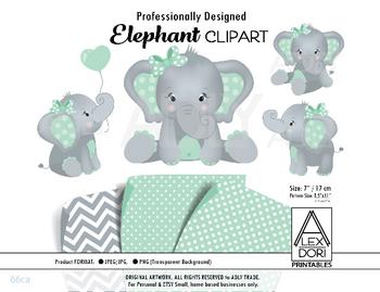 Elephant Mint Grey Clipart, Polka dot background, t shirt, nursery clipart