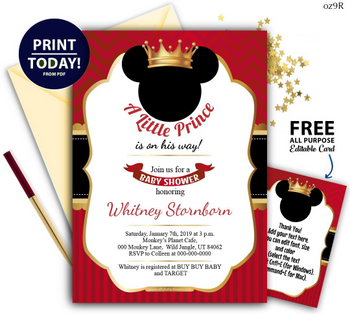 Royal Mickey Invitation in Red, Black & Gold EDITABLE + FREE Thank You Cards EDITABLE, adjust to diaper raffle, book request card, mouse