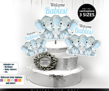 Twin Boy Elephants Centrepiece in 3 different sizes,  Two Babies Boys Shower in Blue & Gray PNG twins baby shower, two elephants shower decorations