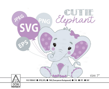 Cute Girl Elephant SVG, vector clip art, baby girl elephant for baby shower, birthday, diaper cake. Pink Gray peanut with polka ears, comm use