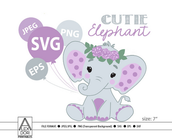 Cute Floral Girl Elephant SVG, vector clip art, baby girl elephant for baby shower, birthday, diaper cake. Pink Gray peanut with polka ears, comm use