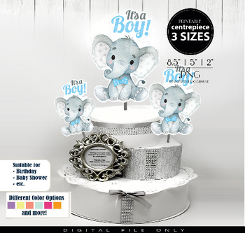 Boy Elephant with Blue Bow Tie Centrepiece, topper, decoration for Baby Boy Shower in Polka Blue & Gray PDF - 3 Sizes, create your own decor