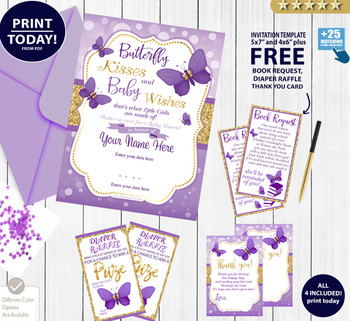 Purple Gold Butterfly Kisses Shower Invitation.Summer invitation. Glitter gold, purple bokeh butterfly digital invitation with FREE bookrequest, thank you card and diaper raffle