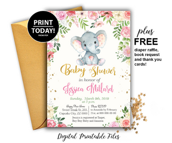 Baby Elephant Shower invitation with flowers, gender neutral invitation tempalte with free book request card, thank you card, diaper raffle