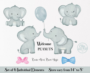 Peanut Elephant clipart with bow tie, gray pink and blue, 7 different elements, elephant watercolor cliparts,unisex clipart for invitations, parties, scrapbooking, stickers, decorations, web design, small crafts business, shirts,mugs