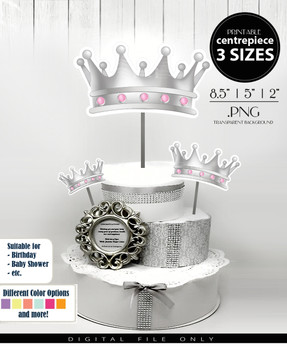 Royal Crown Centrepiece, Crown centrepiece decoration for Girl Shower, birthdays, weddings, table decorations  in Gray & Pink PNG - 3 Sizes