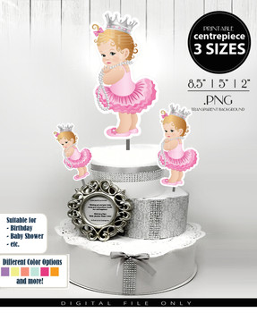 Princess Baby Girl Centrepiece, princess toppers in pink and silver PNG, all events decorations,table decorations, cake toopers in 3 sizes