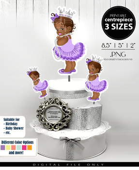 African Princess Centrepiece in purple gray,royal african princess table centrepiece, shower centrepiece, cake toppers ,event toppers