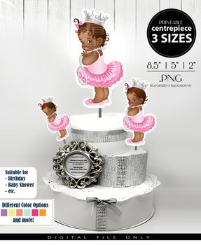 African Princess Centrepiece, princess toppers in pink and silver PNG, all events toppers,table decorations, cake toopers in 3 sizes
