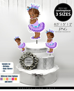 African Princess Centrepiece in purple teal,royal african princess table centrepiece, shower centrepiece, cake toppers,event toppers,3 sizes