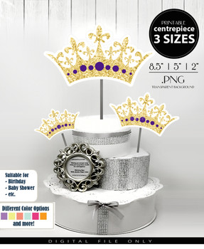 Princess Crown Centerpiece, Cake Topper, Clip Art Decoration in Gold Glitter & Purple - 3 SIZES, PNG FILE