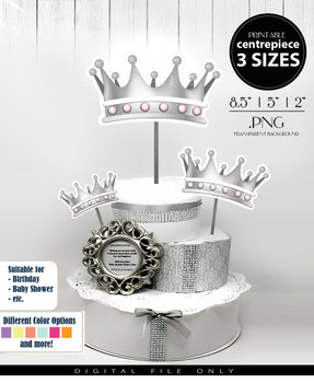 Princess Crown Centerpiece, Cake Topper, Clip Art Decoration in Silver & Pink - 3 SIZES, PNG FILE