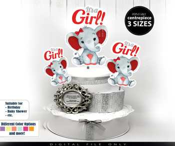 Peanut Elephant Centerpiece, Cake Topper, Clip Art Decoration in Red & Gray with Hair Bow - 3 SIZES, PNG FILE