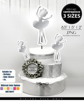 Ballerina Princess Centerpiece, Cake Topper, Clip Art Decoration in Silver - 3 SIZES, PNG FILE