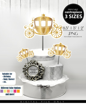 Royal Princess Carriage Centerpiece, Cake Topper, Clip Art Decoration in Gold - 3 SIZES, PNG FILE