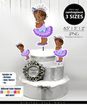 African American Princess Centerpiece, Cake Topper, Clip Art Decoration in Lavender & Teal with Silver Crown - 3 SIZES, PNG FILE