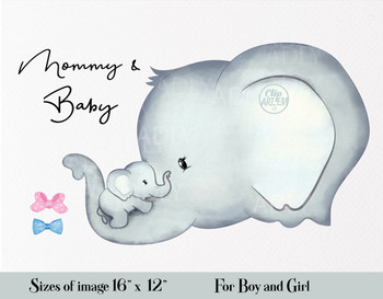 Cute Elephant Mommy and Baby Clipart, with two bow ties in pink  blue, cliparts for invitations, craft projects, paper products, party decorations, printable, greetings cards, posters, stationery, scrapbooking, t-shirts, baby clothes