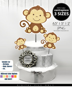 Cute Monkey Centerpiece, Cake Topper, Clip Art Decoration in Brown & Beige - 3 SIZES, PNG FILES