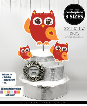 Cute Baby Owl Centerpiece, Cake Topper, Clip Art Decoration in Red & Orange - 3 SIZES, PNG FILE
