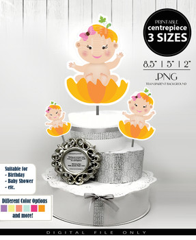 Pumpkin Patch with Baby Girl Centerpiece, Cake Topper, Clip Art Decoration in Orange & Pink with Bow - 3 SIZES, PNG FILE