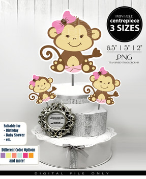 Baby Monkey Centerpiece, Cake Topper, Clip Art Decoration in Brown & Pink with Hair Bow - 3 SIZES, PNG FILES