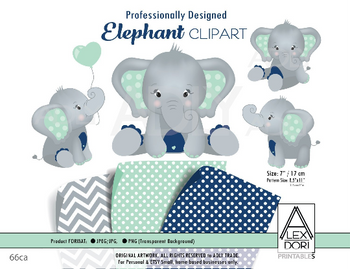 Elephant Mint Navy Blue Clipart,Baby peanut clip art, png file.Nursery, Baby Shower decoration,birthday, instant download comm use,dark blue