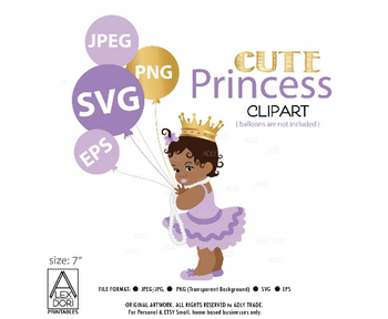 Princess SVG, African princess girl cutting file, vector, digital file for cricut, silhouette, commercial use. Purple crown royal scg