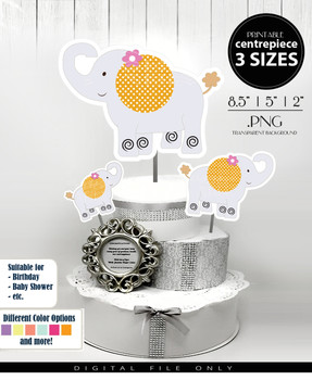 Elephant Centerpiece, Cake Topper, Clip Art Decoration in Gray & Orange with Flower and Polka Dots - 3 SIZES, PNG FILES