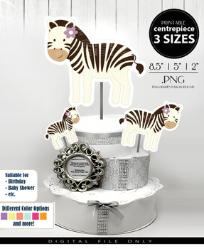 Zebra Baby Girl Centerpiece, Cake Topper, Clip Art Decoration in Beige & Brown with Purple Flower - 3 SIZES, PNG FILES
