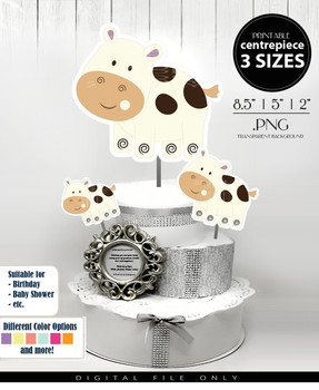 Cow Calf Gender Neutral Centerpiece, Cake Topper, Clip Art Decoration in Beige & Brown Spots - 3 SIZES, PNG FILES