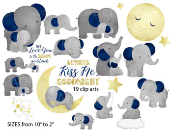 Cute Elephant watercolor clipart , good night kiss me, 19 different styles