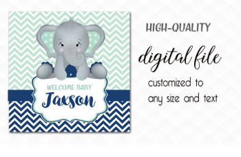Mint Navy Elephant Backdrop, Digital desert table sign, welcome sign, custom order