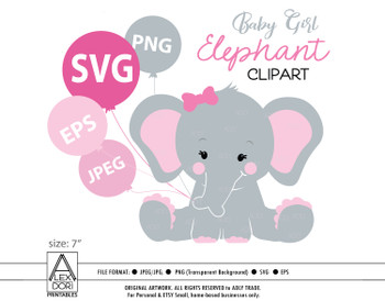 Cute Elephant girl SVG, vector clip art, baby girl elephant for baby shower, birthday, diaper cake. Pink Gray peanut with polka ears, comm use