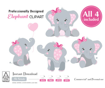 Cute Girl Elephant SVG cliaprt, 4 elephant SVG,elephants clip art, png file, comm use, baby shower, birthday, create t-shirt,invitation,design
