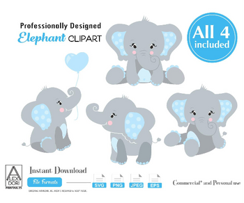 Elephant SVG set, 4 boy elephants with blue ears, polka dot, cute little elephant sitting, holding balloon,decor, baby shower, cake topper