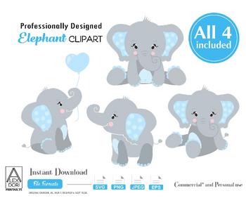 Elephant SVG set, 4 boy elephants with blue ears, polka dot, cute little elephant sitting, holding balloon,decor, baby shower, cake topper