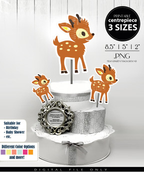 Deer Baby Boy Centerpiece, Cake Topper, Clip Art Decoration in Brown & Beige with Spots - 3 SIZES, PNG FILES
