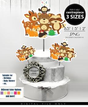 Woodland Animals Babyboy Centerpiece, Cake Topper, Clip Art Decoration - 3 SIZES, PNG FILES
