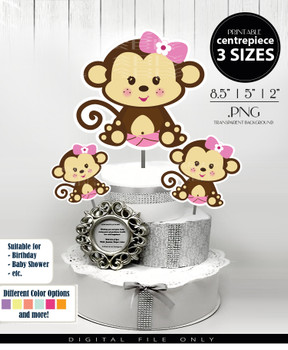 Baby Monkey Centerpiece, Cake Topper, Clip Art Decoration in Dark Brown & Light Pink with Hair Bow - 3 SIZES, PNG FILES