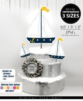 Sailboat Nautical Centerpiece, Cake Topper, Clip Art Decoration for Boy Baby Shower in Navy Blue & White - 3 SIZES, PNG FILE