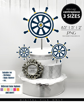 Nautical Wheel Centerpiece, Cake Topper, Clip Art Decoration for Boy Baby Shower in Navy Blue & Yellow - 3 SIZES, PNG FILE