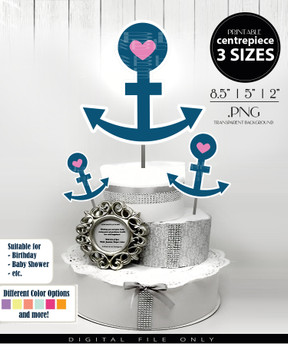 Nautical Anchor Centerpiece, Cake Topper, Clip Art Decoration for Girl Baby Shower in Blue & Pink - 3 SIZES, PNG FILE