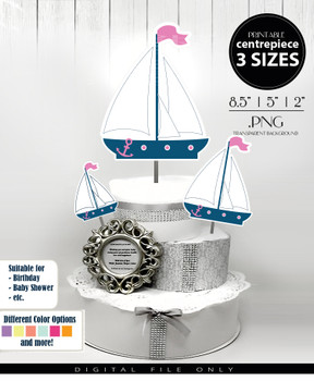 Nautical Sailboat Centerpiece, Cake Topper, Clip Art Decoration for Girl Baby Shower in Blue & Pink - 3 SIZES, PNG FILE