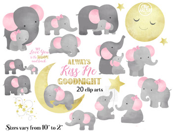 Cute Mommy and baby elephant cliparts , always kiss me goodnight , we love you to the moon and back, 20 different styles PNG