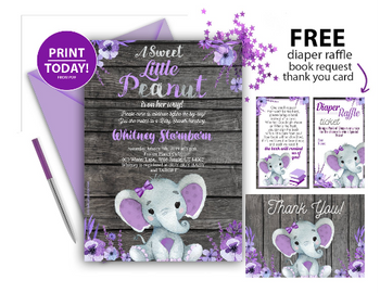 Purple Elephant Rustic Baby Shower, with flowes wooden background. Gray purple baby girl.Peanut, diaper raffle, book request thank you free