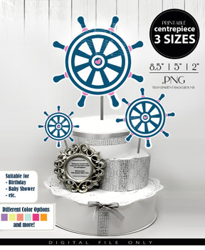 Nautical Wheel Centerpiece, Cake Topper, Clip Art Decoration for Girl Baby Shower in Blue & Pink - 3 SIZES, PNG FILE