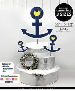 Nautical Anchor Yellow Centerpiece, Cake Topper, Clip Art Decoration for Boy Baby Shower in Navy Blue & Yellow - 3 SIZES, PNG FILE