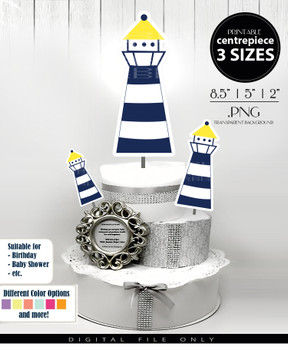 Nautical Lighthouse Centerpiece, Cake Topper, Clip Art Decoration in Navy Blue & Yellow - 3 SIZES, PNG FILE