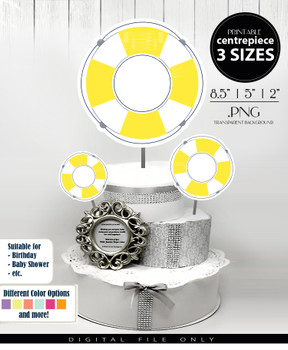 Life Float Ring Centerpiece, Cake Topper, Clip Art Decoration in Yellow & White - 3 SIZES, PNG FILE